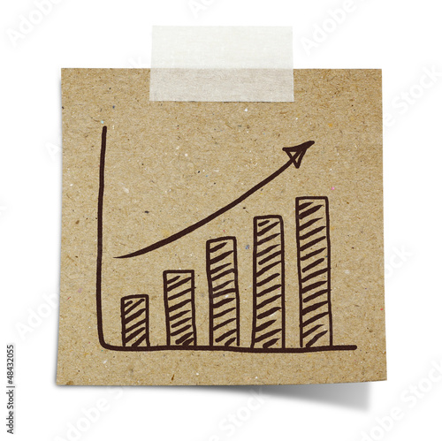 hand draw growth graph  on note taped recycle paper