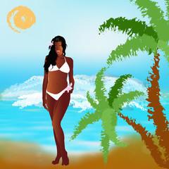 Romantic travel on exotic tropical island