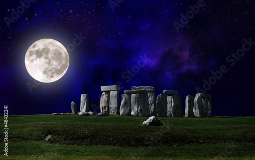 Stonehenge at night with full moon, Druids pilgrimage
