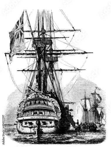 Sailing Ship : the Bellerophon & Napoleon - begin. 19th century