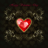 Luxury black ornamental background with red diamond heart