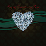 Beautiful heart of white diamonds on dark background