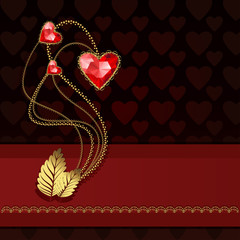 Three red diamond hearts and gold ornaments