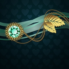 Beautiful illustration with diamond and gold ornaments