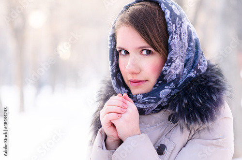 woman is warming up her hands