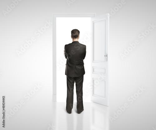 man in white room