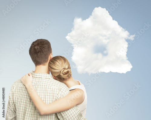 couple and cloud house
