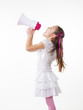 Little girl and megaphone