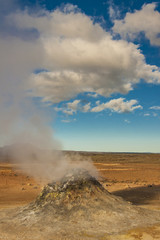 Steaming fumarole in  Namafjall, between the Myvatn lake and Kra
