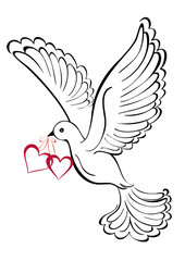 Flying dove with heart