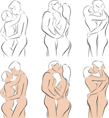 Stylized silhouettes of men and women hugging
