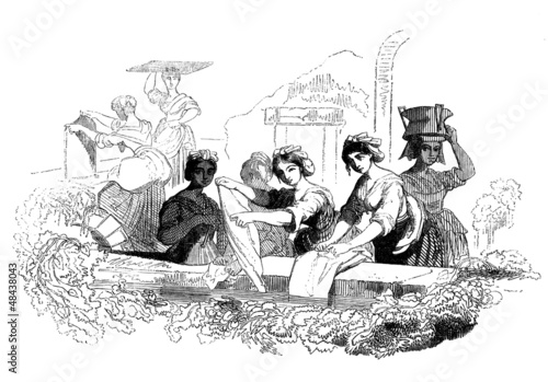 Traditional Washerwomen - Lavandières - 19th century