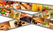 Film Strip Food Montage Menu Salad Pasta Bread