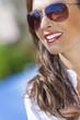 Happy Woman Wearing Aviator Sunglasses