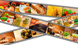 Film Strip Food Montage Menu Salad Pasta Bread