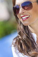 Happy Woman Wearing Aviator Sunglasses