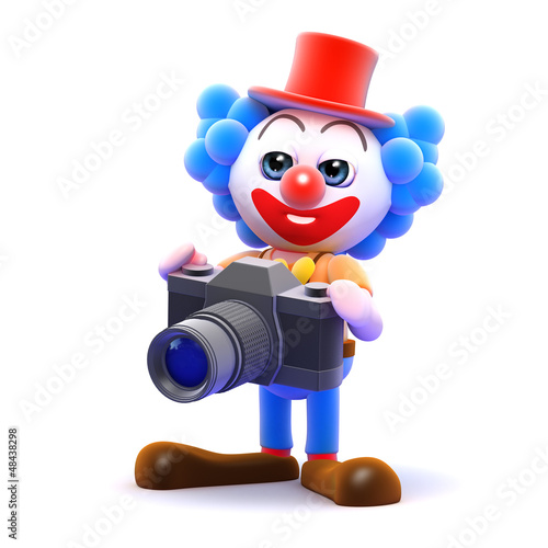 Clown takes a funny photo with his camera