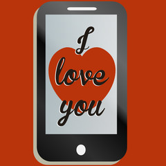 I love you message on smartphone