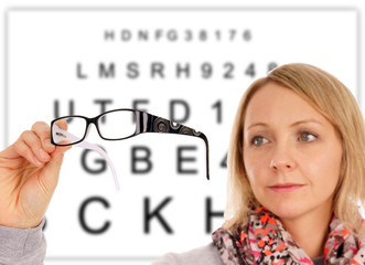 Woman with glasses and eye test panel
