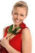 Young Woman Holding Red Rose