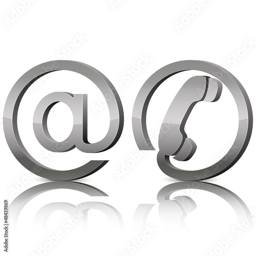 Contact 3d silver glossy icons, symbols email and phone
