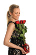 Woman Holding Bouquet of Red Roses