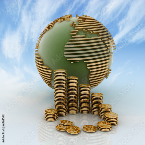 globe with many gold coins