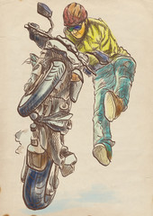 crazy on a motorcycle, stuntman - hand drawing