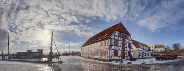 Lundeborg harbor in Denmark with half-timbered houses