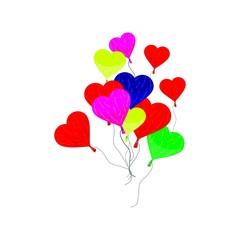 Kolorowe balony w kształcie serca.