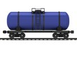 Blue railroad tank wagon on a white background