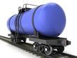 Blue railroad tank wagon on a white background