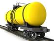 Yellow railroad tank wagon on a white background