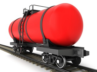 Red railroad tank wagon on a white background