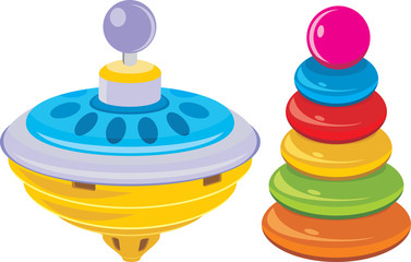Children pyramid and whirligig toy