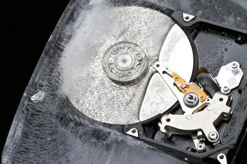 Hard drive frozen in an ice block