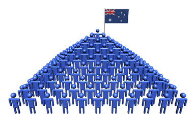 Pyramid of abstract people with Australian flag illustration