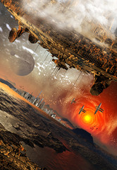 Alien Planet And Spaceships - Computer Artwork