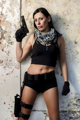 beautiful girl with weapon
