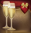 Two Champagne Glasses with  Heart  Vector illustration