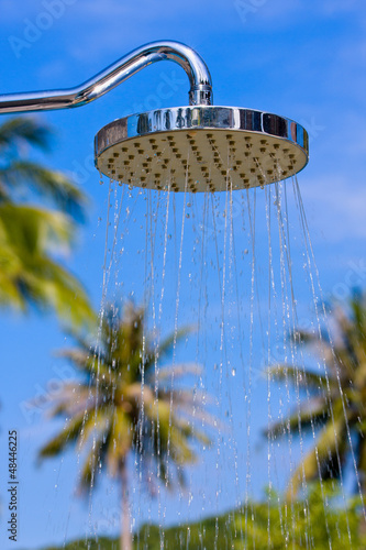 Shower on the background of blue sky at the hotel