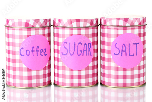 Sugar, coffee, salt containers isolated on white