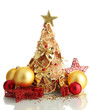 beautiful christmas tree of dry lemons with decor, isolated