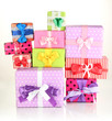 Hill colorful gifts isolated on white