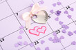 Notes on the calendar (valentines day), close-up