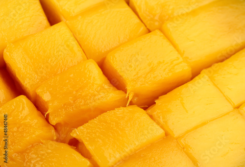 Ripe appetizing mango close-up background