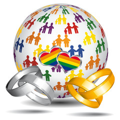 Marriage and adoption. LGBT flag.