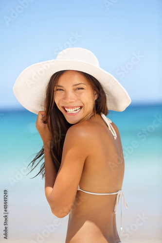 Asian woman beach portrait