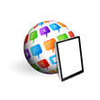 Sphere with social speech bubbles with tablet pc. EPS10 vector