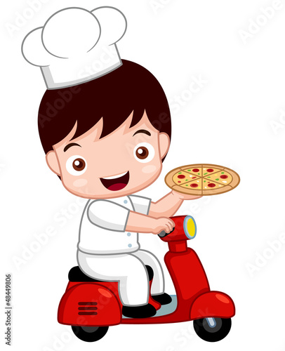 illustration of Cartoon Cute pizza chef on bike